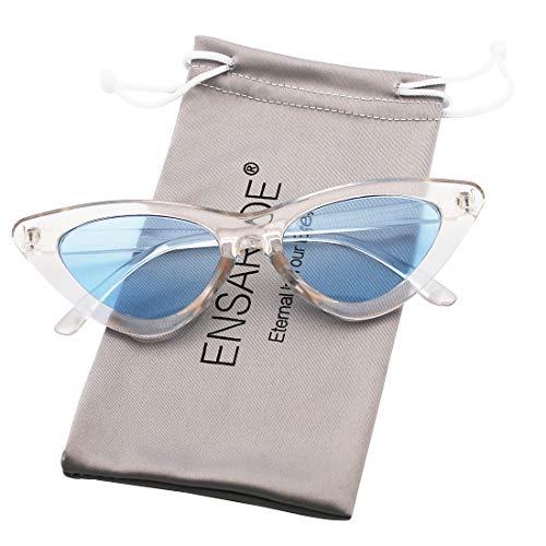 ENSARJOE Retro Vintage Trendy Cat Eye Sunglasses For Women Clout Goggles Plastic Frame Glasses