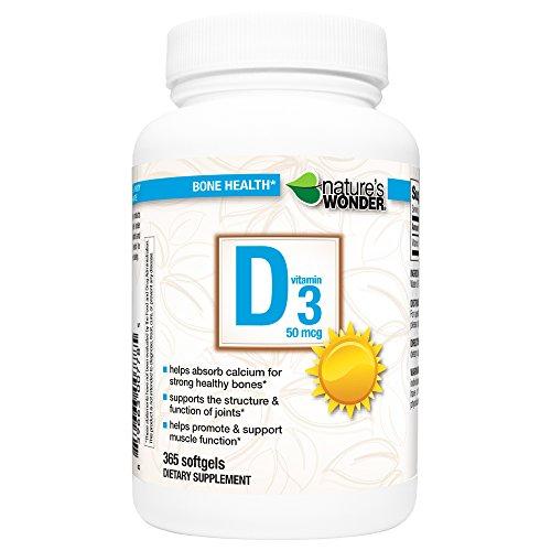 Nature's Wonder Vitamin D3 50mcg Tablets, 365 Count