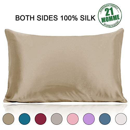 Ravmix Mulberry Silk Pillowcase Standard Size 21 Momme 600 Thread Count Hypoallergenic Both Sides 100% Silk Pillow Case for Hair and Skin Zippered, Taupe