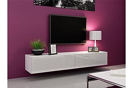 Meuble Tv Design Suspendu Vito 180cm Blanc Amazon Fr Cuisine