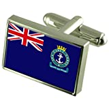 Sea Cadet Military England Sterling Silver Flag Cufflinks Engraved Box