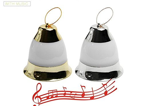 Colorful LED Christmas Bell Lights with Music Indoor Outdoor Waterproof Garden Home Romantic Merry Christmas (gold silver) (Christmas Merry Tree Clip Art)