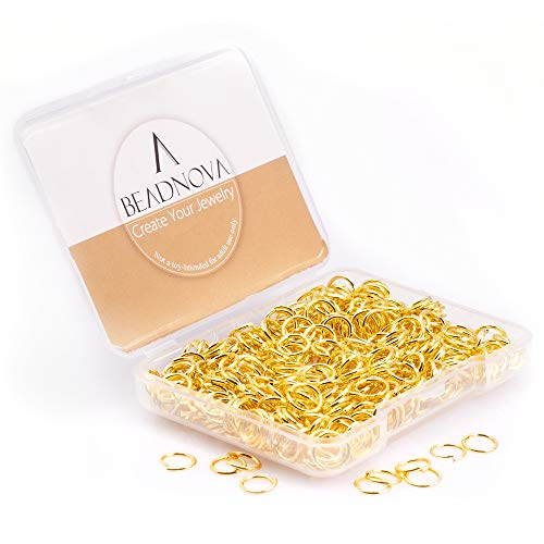 BEADNOVA 7mm Iron Open Jump Ring Gold Plated Jewelry Making Jump Ring (300Pcs)