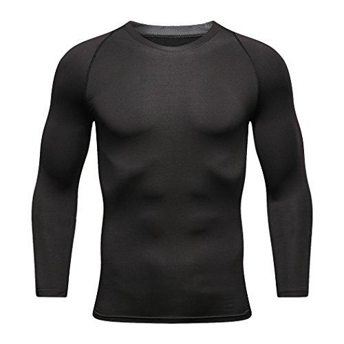下着足広がりNekoスポーツメンズ長袖TシャツCool Dry圧縮シャツ長袖ワークアウトシャツfor Men L ブラック