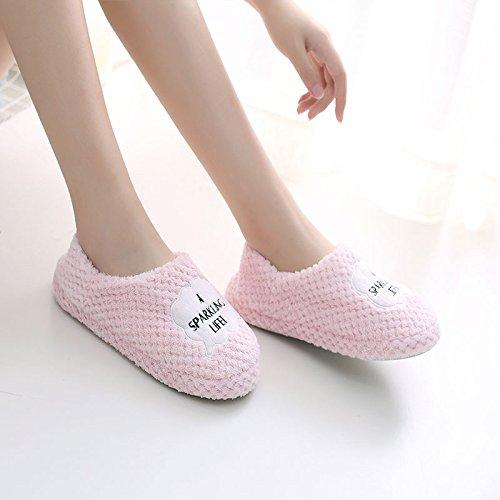 Fankou autunno inverno scarpe morbide pacchetto di fondo con arredamento anti-slip di cotone cartoon pantofole inverno femmina ,40-41 (38-39), le nuvole rosa