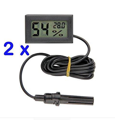2 pcs Mini Digital Thermometer Hygrometer with Probe for Vivarium Terrarium Reptile Tank Blue Aqua