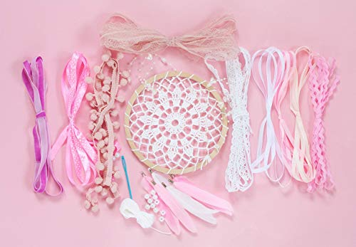 "DIY Dream Catcher Kit Do It Yourself Dream Catcher Girls Party Favor Activity Kids Craft Set Diam 6.2"" Dreamcatcher Supplies Birthday Party Favor Pink Blush White from WORLDREAMER"