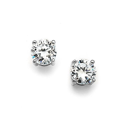 Mariell 2 Carat Round-Cut CZ Stud Earrings - 8mm Solitaire Cubic Zirconia Studs - Genuine Platinum Plated Cubic Zirconia Platinum Earrings