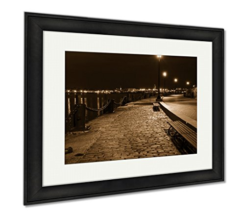 Ashley Framed Prints Harborwalk In South Boston Looking Toward Logan Airport, Office/Home/Kitchen Decor, Sepia, 30x35 (frame size), Black Frame, - Airport Logan Boston Shops