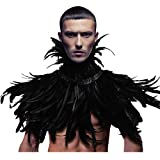 HOMELEX Gothic Black Natural Feather Cape Shawl