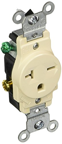 - Leviton 5821-T 20-Amp, 250-Volt, Narrow Body Single Receptacle, Straight Blade, Commercial Grade, Grounding, Light Almond