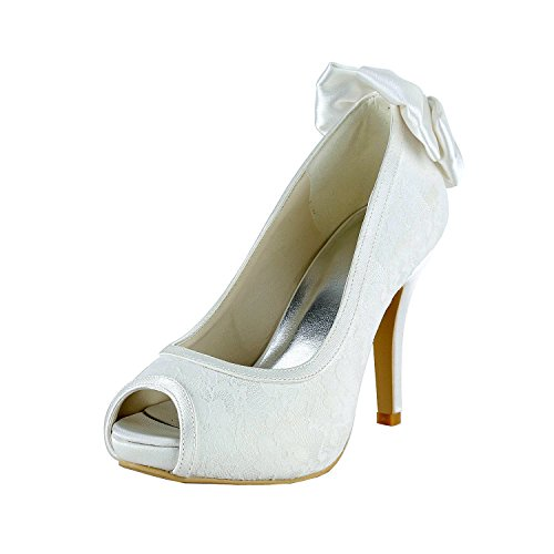 Minitoo Heel Wedding Shoes Bowknot Lace Womens Open GYMZ649 Bridal 10cm Stiletto Heel ivory Toe 4Xng4rT