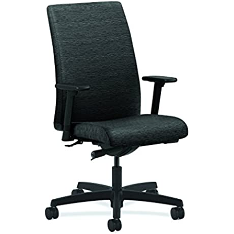 HON Ignition Series Mid Back Work Chair Upholstered Computer Chair For Office Desk Onyx HIWM2