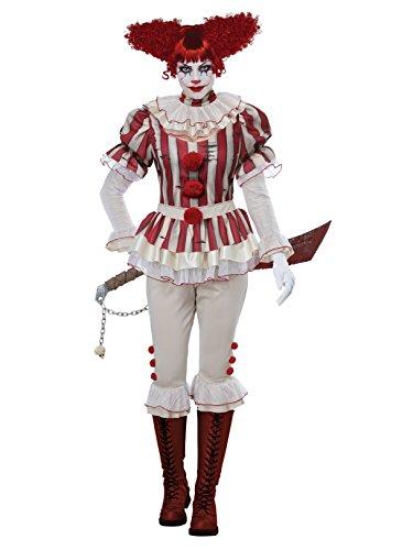 California Costumes Women's Sadistic Clown-Adult Costume, Red/Cream -