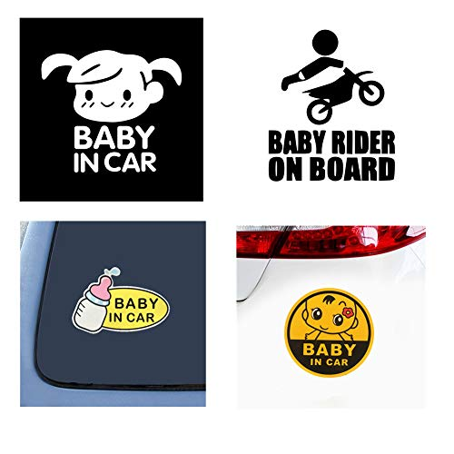 (Homyu Car Stickers Set 4 Car Decals Set of Baby in Car Baby on Board Series Safety Signs for Private Car Waterproof Sunlight-Proof)