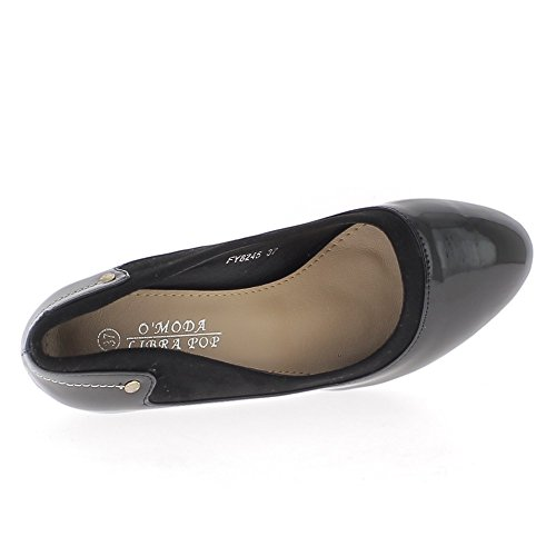 Nero scarpe polacco 9,5 cm tacchi spessi e vassoio mini