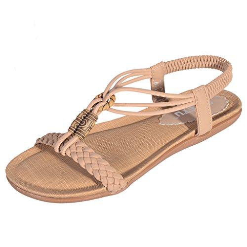 Hee Grand Damen Maedchen Sommer Schuhe Bohemia sexy Ladies Flat Strand Freizeit Sandale Beige