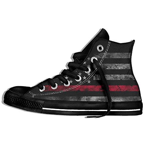 Baskets Montantes Classiques Toile Chaussures Anti-dérapant Rétro Drapeau Américain Casual Marchant Pour Hommes Femmes Noir