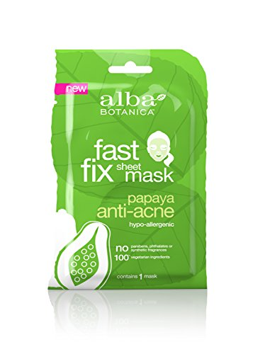 Alba Botanica Fast Fix Sheet Mask, Papaya Anti-Acne, Pack of 8 ()