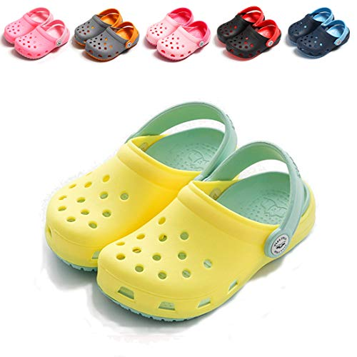 BEBARFER Toddler Kids' Boys Girls Classic Clog Slip On Garden Water Shoes Lightweight Summer Slippers Beach Sandals(Toddler/Little Kids)(6.5 M US Toddler,A-Yellow)
