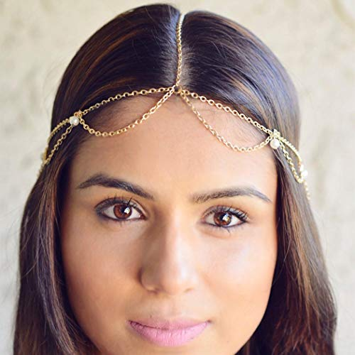 Tgirls Gold Head Chain Jewelry with Pendant Hair Headpiece for Women and Girls (Chain Headpiece Gold)