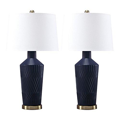 Ashley Furniture Signature Design - Leroi Matte Ceramic Glazed Table Lamp Set with Drum Shades-Contemporary-Set of 2-Blue