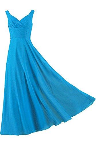 einfach Traeger Ivydressing Partykleid Falte Kleid Brautfern Satin aermellos Blau zwei bodenlang Schnuerung Damen Abendkleid gqqx65wap