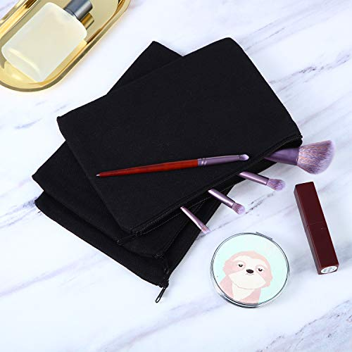 10 Pieces Cosmetic Bag Multipurpose Makeup Bag with Zipper Cotton Canvas Bag Travel Toiletry Pouch DIY Craft Bag Pencil Bag (L, Black)