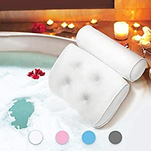ESSORT Bathtub Pillow, Large Spa 3D Air Mesh Bath Pillow, Luxury Comfortable Soft Bath Cushion Headrest, for Head Neck Shoulder Support Backrest, Fits Any Size of Tubs, Jacuzzi (White)