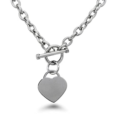 Stainless Steel Heart Tag Charm Chain Necklace w/ Personalized Engraving w/ Personalized Engraving (Heart Toggle Chain Necklace)