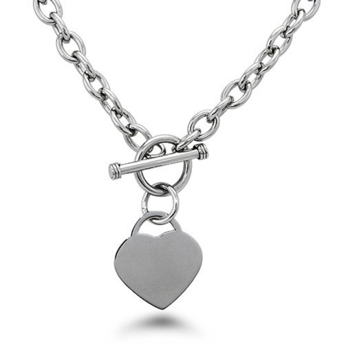 (Stainless Steel Heart Tag Charm Chain Necklace w/ Personalized Engraving w/ Personalized Engraving)
