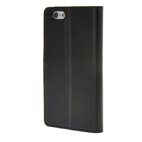 "MOONCASE Case für iPhone 6 Plus (5.5"") Leder Tasche Flip Schutzhülle Etui Cover Hülle Schale Schwarz"