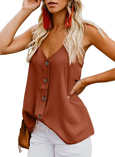 OYANUS Womens Tops V Neck Button Down Strappy Tank Tops Loose Casual Summer Sleeveless Shirts Blouses Rust Red S