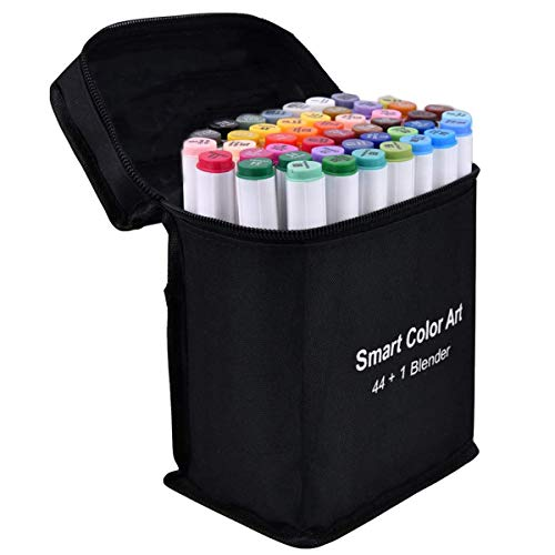 Art Markers, 44 Colors Markers and 1 Blender, 45 Pack Alcohol Based Dual Tip Permanent Markers with Case, Highlighters Excellent for Coloring, Marking, Drawing and Sketching by Smart Color Art