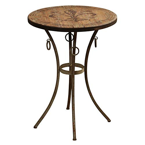 Abode 84 Round Side Table Accent with Fleur De Lis Motif Painted Wood ()