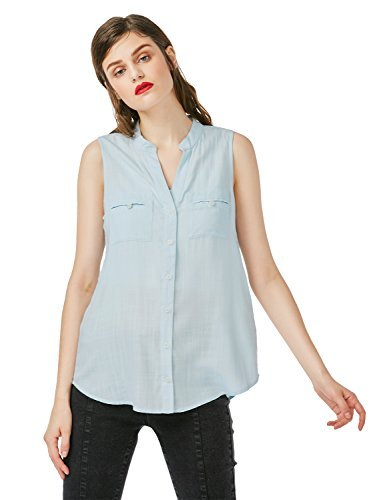 ZAN.STYLE Women's V Neck Button Down Sleeveless Shirt Blouse Tops Blue Large