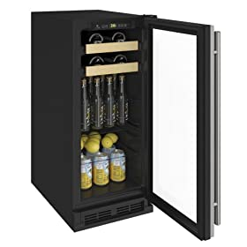U-Line U1215BEVS00A 1000 Series 15 Inch 3 cu. ft. Capacity Freestanding or Built In Full Size Beverage Center with Reversible Door in Stainless Steel