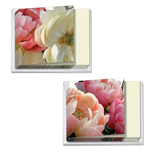 Peony Passion - 12 Assorted Sympathy Cards with Envelopes (4 x 5.12 Inch) - Elegant Flower Appreciation Note Cards for Bereavement, Funeral, Sick, Cancer - Boxed Set (6 Each 2 Designs) MQ4606SMG-B6x2