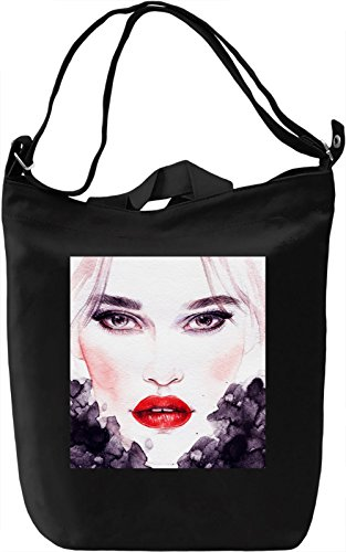 Woman with Red Lips Portrait Borsa Giornaliera Canvas Canvas Day Bag| 100% Premium Cotton Canvas| DTG Printing|