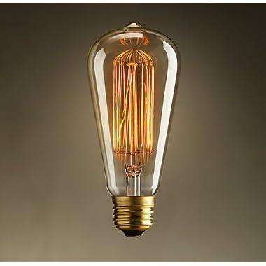 Vintage Edison 40W 110V E26 Base Squirrel Cage Filament Incandescent Light Bulb, White, Pack of 1