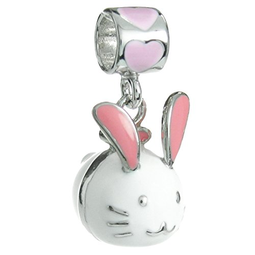 - Queenberry Sterling Silver Lovely Easter White Pink Heart Rabbit Enamel European Style Dangle Bead Charm