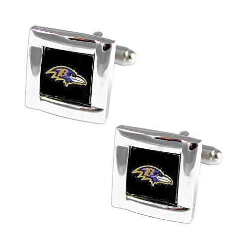 aminco NFL Baltimore Ravens Square Cufflinks with Square Shape Logo Design Gift Box Set ()