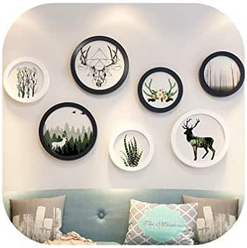 NA Wooden Multi Photo Frame Set 7Pcs/Lot Round Picture Frames Wall Hanging Collage Black White Sets Wall Decoration Accessories,1