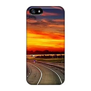 Sanp On Case Cover Protector For Iphone 5/5s (highway At Glorious Sunset)