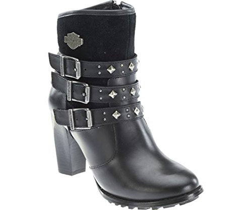 Harley Davidson Abbey mujer negro cuero Biker Heel Stivali Triple Strap Dress