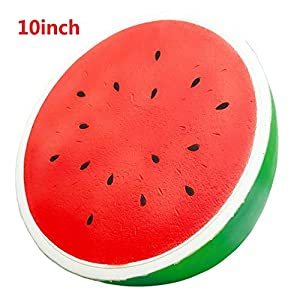 Huastyle 1Pcs 10 inch Super Jumbo Squishy Watermelon Kawaii Slow Rising Cream Scented Funny Squeeze Toy Large Kids Gift