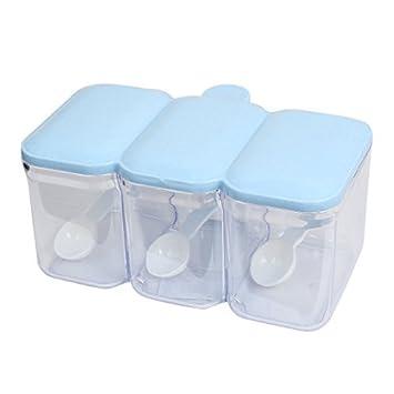 DealMux Retângulo 3 compartimentos condimento titular Dispenser Bandeja Branco Azul