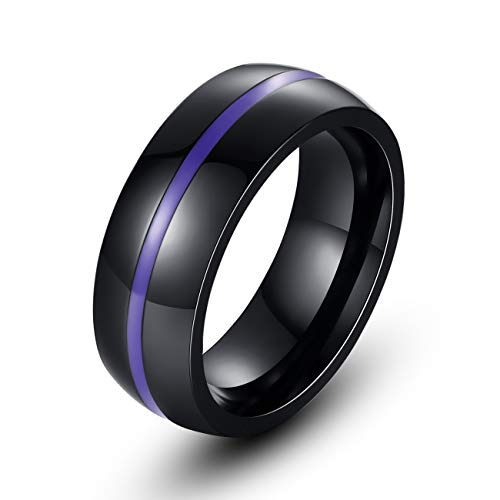 REVEMCN 8mm Black Stainless Steel Thin Line Polished Finish Wedding Band Ring for Men Women, 4 Color (Purple, 5)