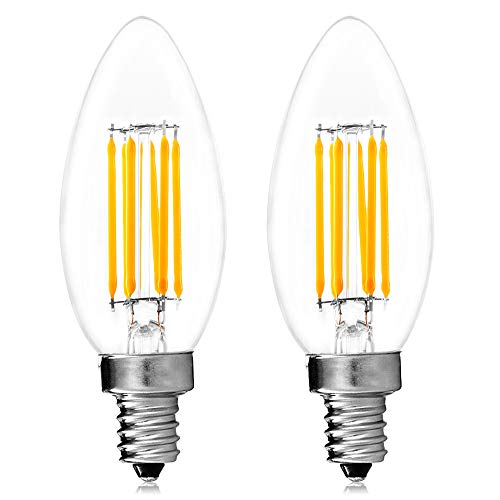 Luxrite Filament LED Candle Bulb, 6W (60W Equivalent), 2700K Warm White, 650 Lumens, LED Edison Chandelier Bulb, UL Listed, Torpedo Tip, LED E12 Base, Pack of ()