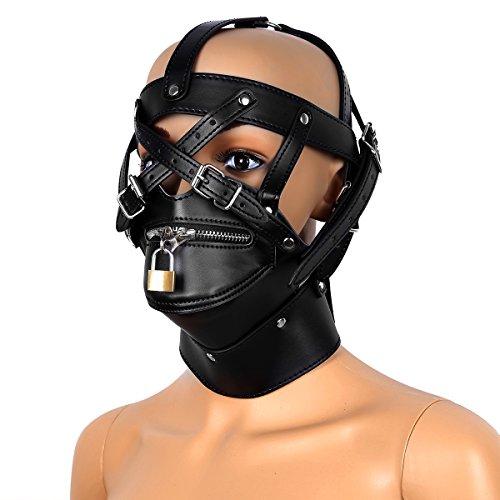 Freebily Sexy Unisex Adjustable Leather Masks Headgear Hood Mask Buckled Lockable with Locks Keys -